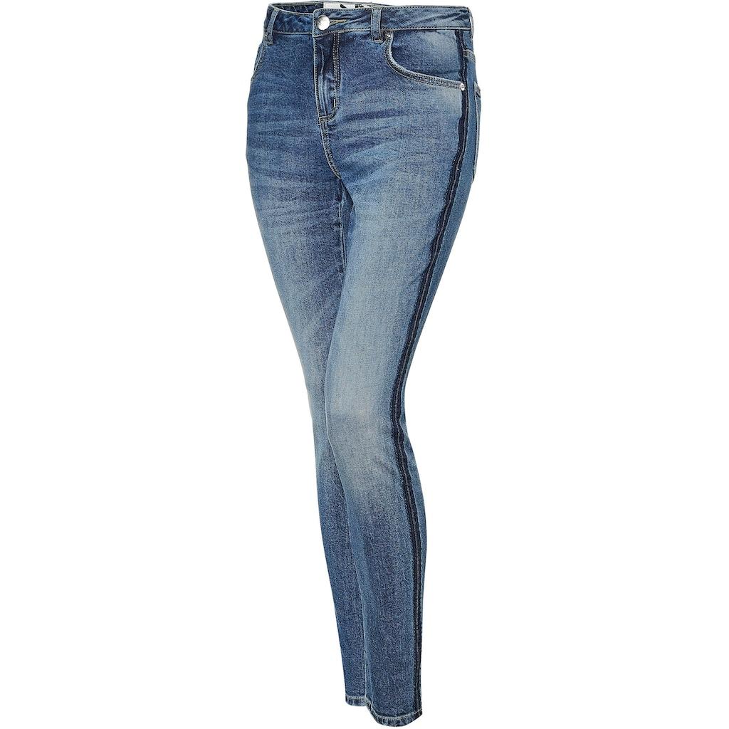 OPUS Skinny-fit-Jeans »Evita dark blue«, mit seitlichem Waschstreifen