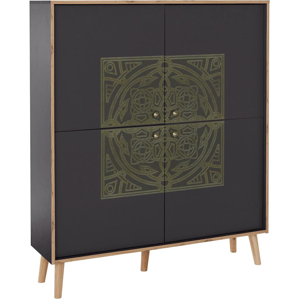 """Leonique Highboard »Clivia«, Highboard """"Clivia"""", mit dekorativem Print auf den Türen, Breite 117 cm"""