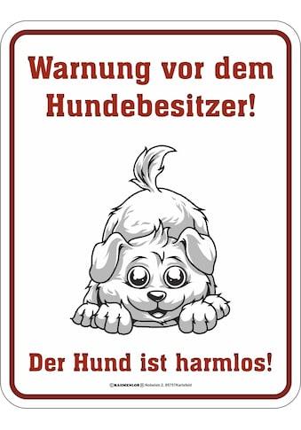 Rahmenlos Blechschild mit lustigem Hunde - Print kaufen