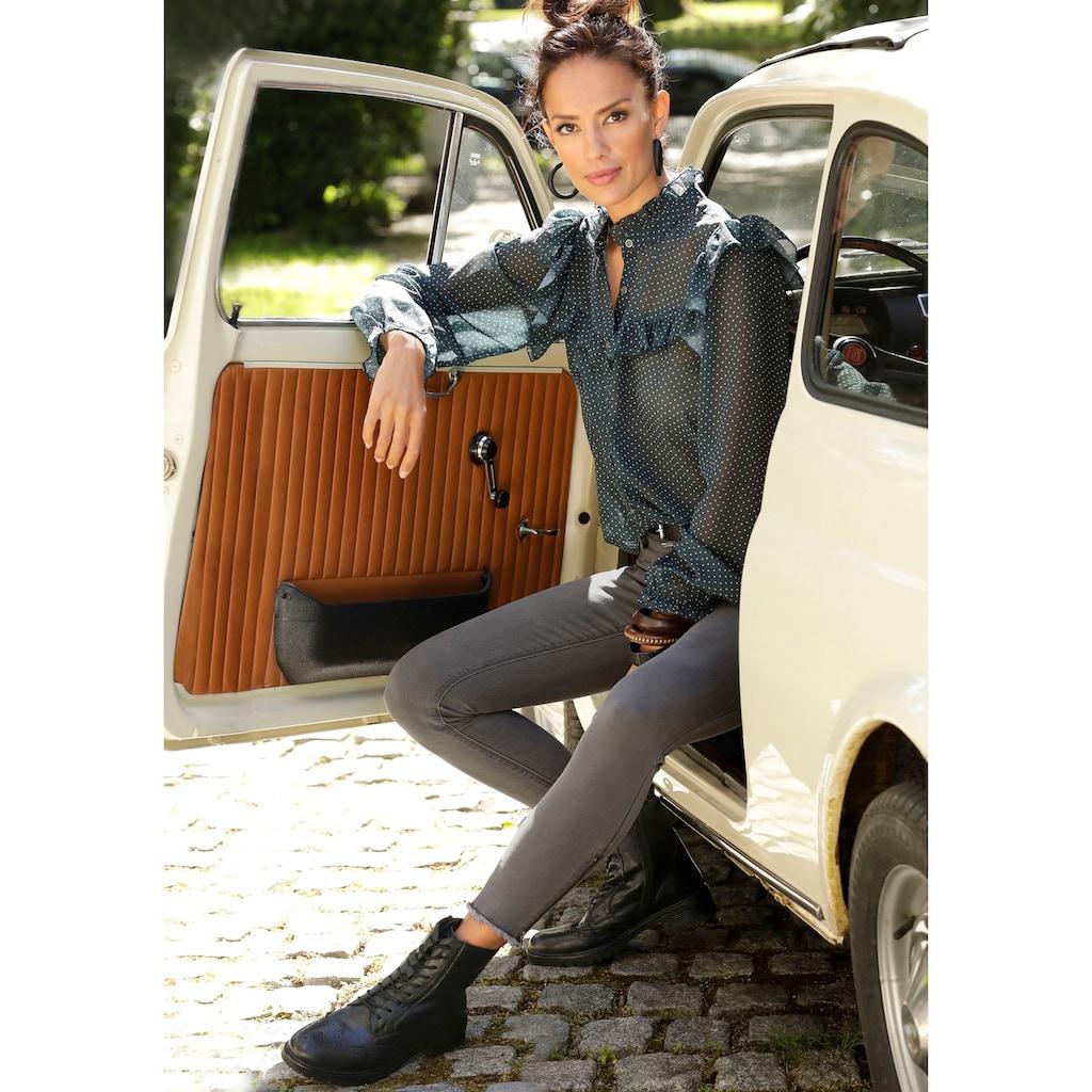 LASCANA Stiefelette, Boots aus Leder zum Schnüren und Reißverschluss