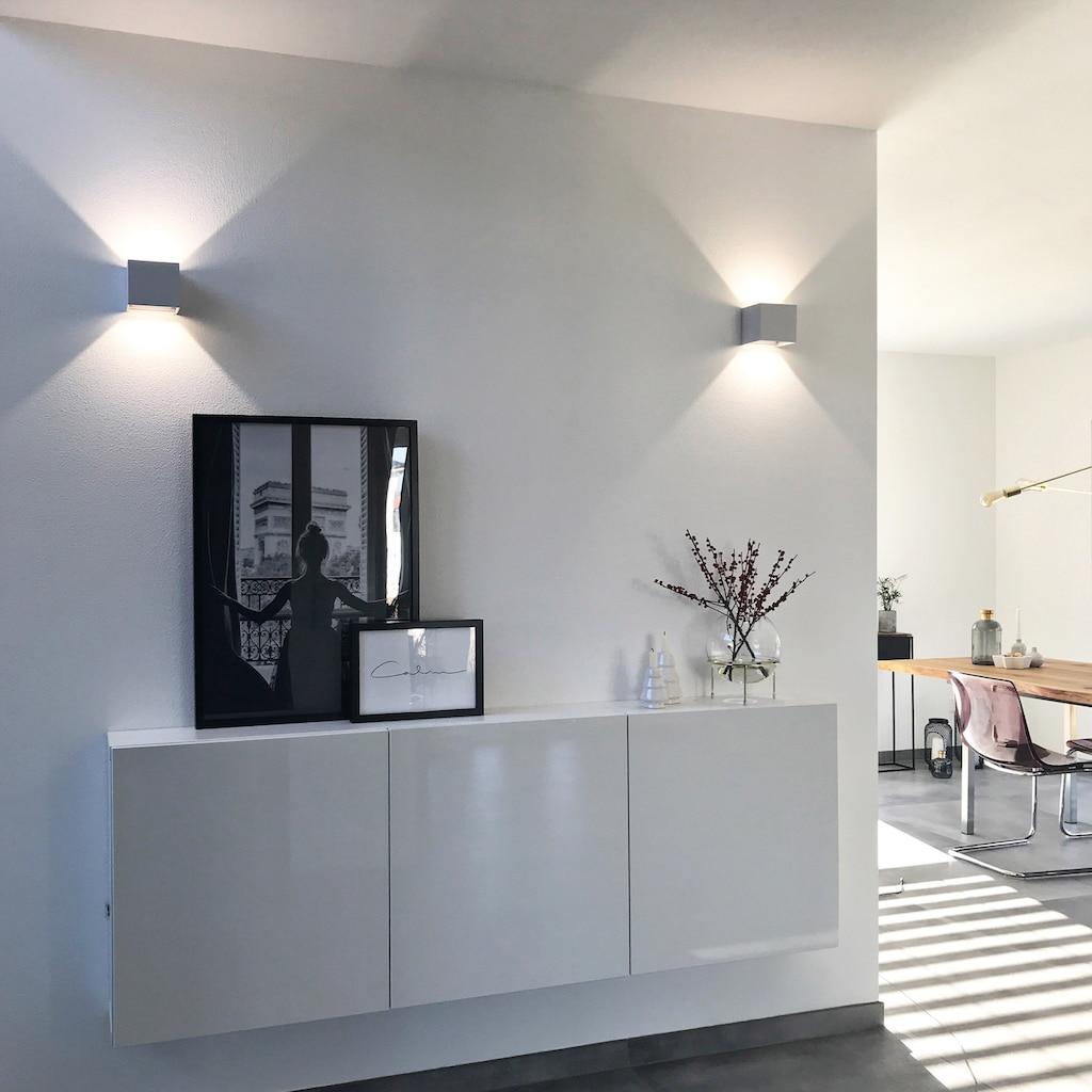 B.K.Licht LED Außen-Wandleuchte, LED-Board, Neutralweiß, LED Wandstrahler 7W Außenlampe 600lm 4000K Wandspot IP44 metall weiß