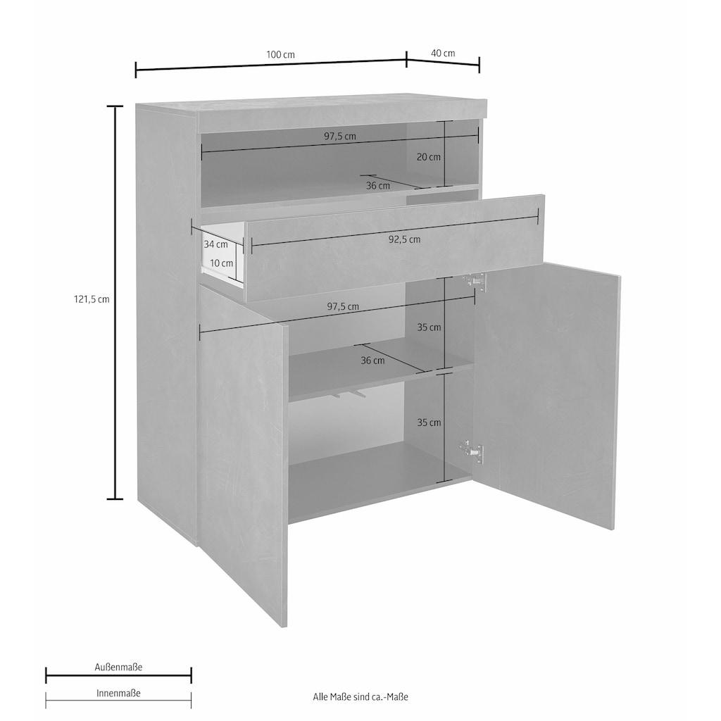 Tecnos Highboard, Breite 100 cm, ohne Beleuchtung