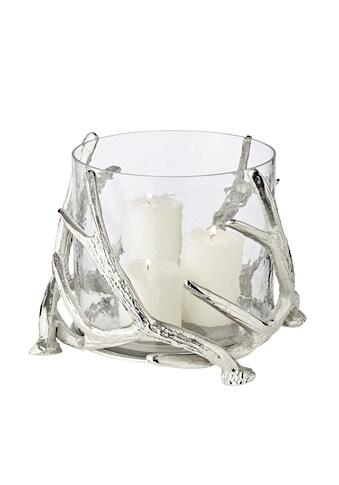 EDZARD Windlicht »Kingston«, Kerzenhalter im Geweih-Design für Stumpenkerzen,... kaufen