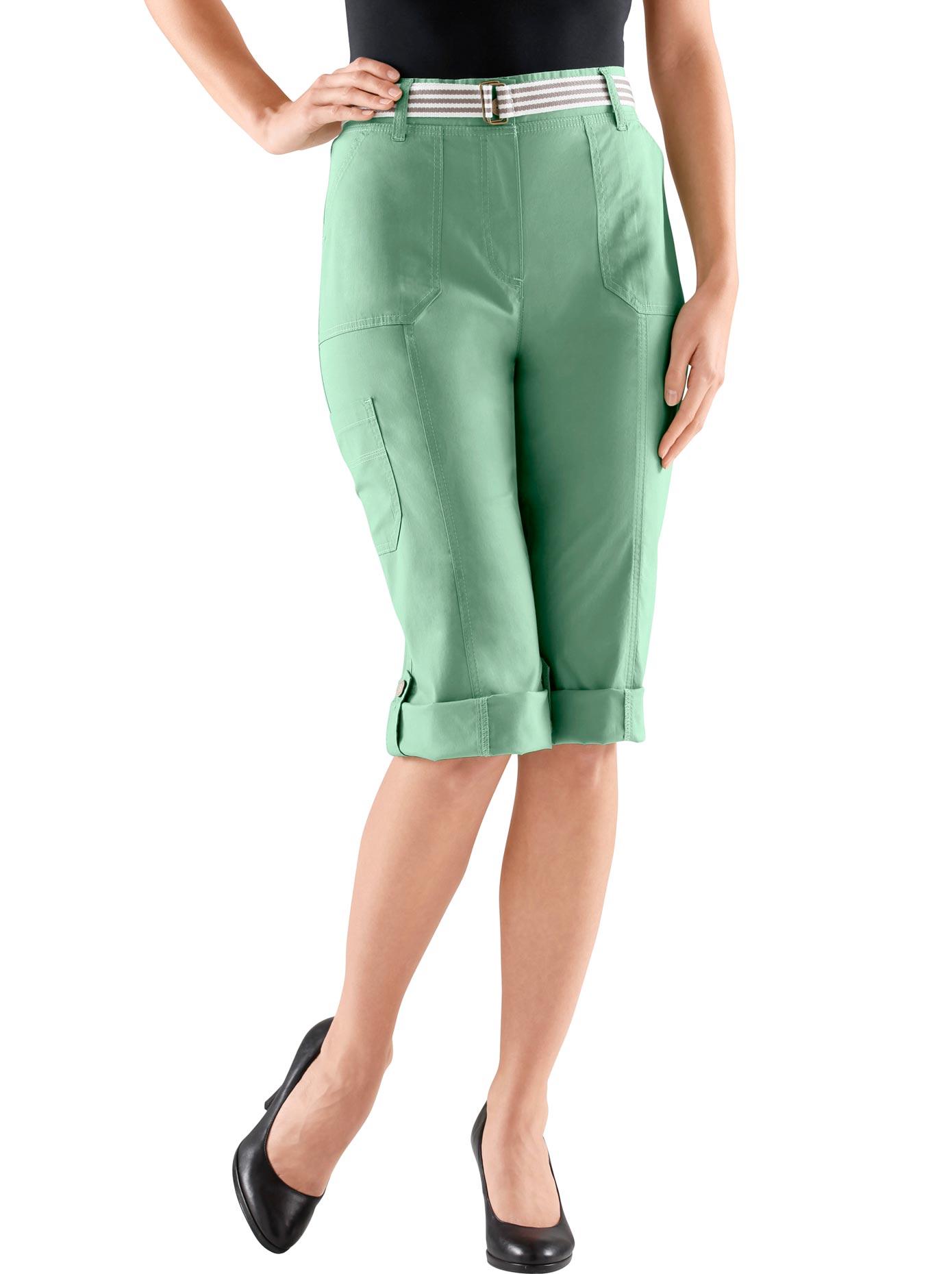 Casual Looks Capri-Hose mit figurfreundlicher Teilungsnaht vorne | Bekleidung > Hosen > Caprihosen | Grün | Casual Looks