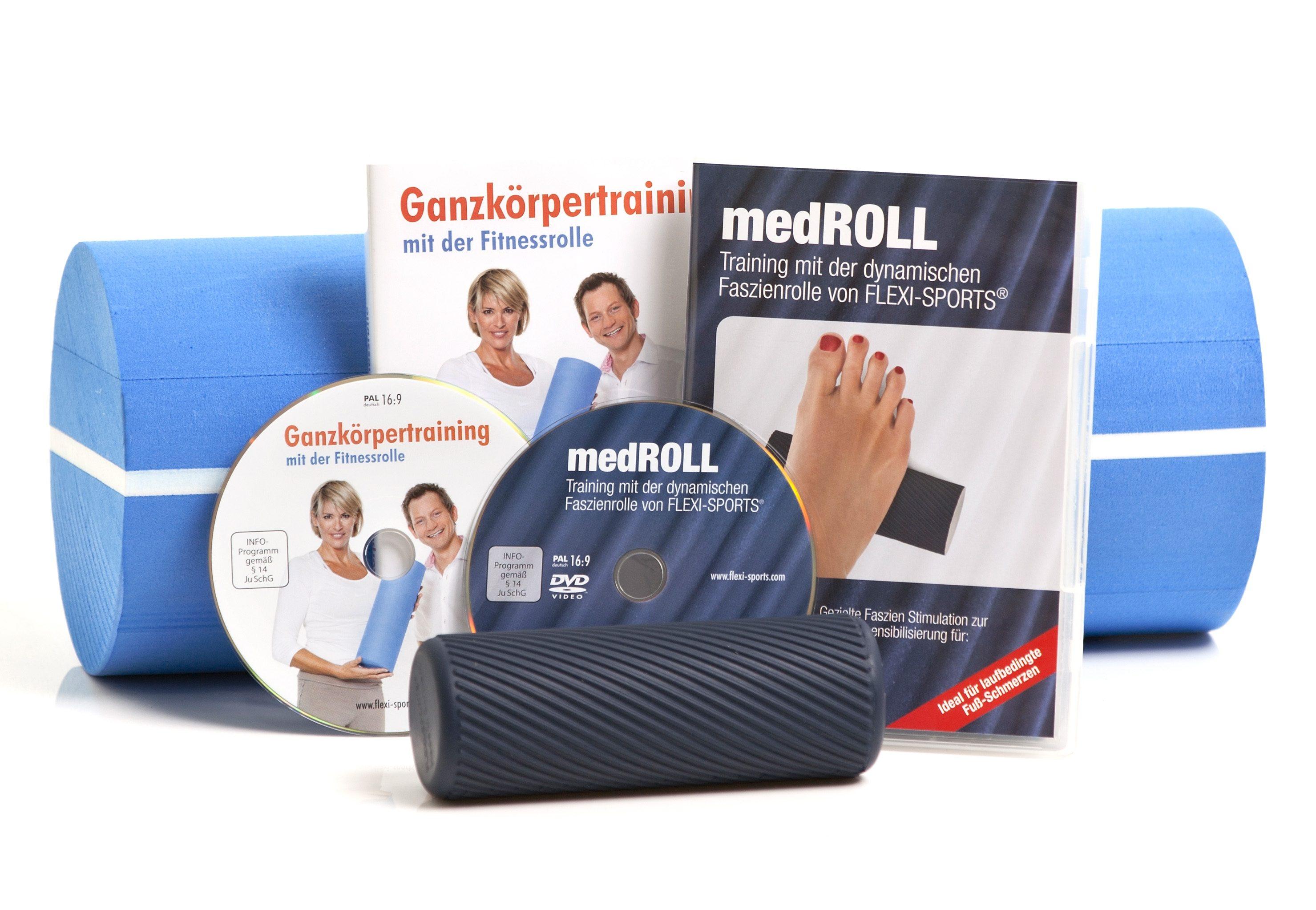 FLEXI-SPORTS Fitnessrolle Fitnessrolle + medROLL inkl DVDs (Set 4-tlg) Technik & Freizeit/Sport & Freizeit/Fitnessgeräte/Fitness-Kleingeräte/Massagerollen