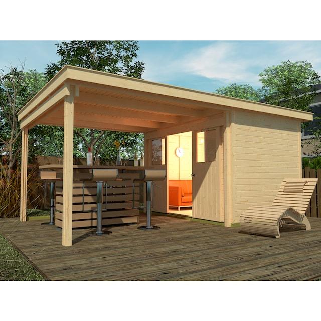 WEKA Set: Gartenhaus »Loungehaus Gr.1«, BxT: 529x336 cm, inkl. Anbaudach und Fußboden