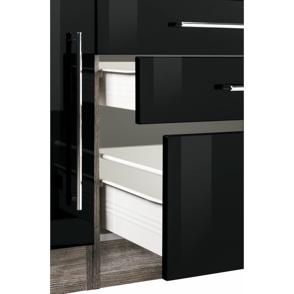 HELD MÖBEL Küchenzeile »Samos«, mit E-Geräten, Breite 350 cm mit Stangengriffen aus Metall