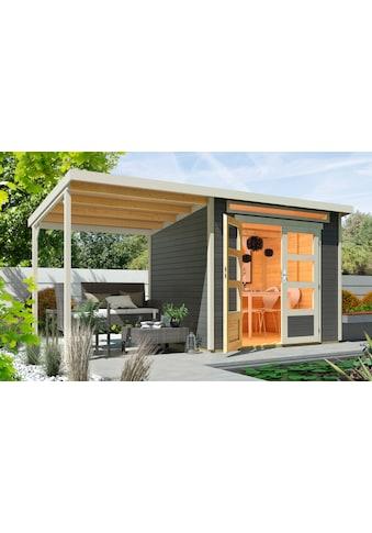 WOLFF FINNHAUS Set: Gartenhaus »Venlo A«, BxT: 441x236 cm, inkl. Anbaubdach kaufen