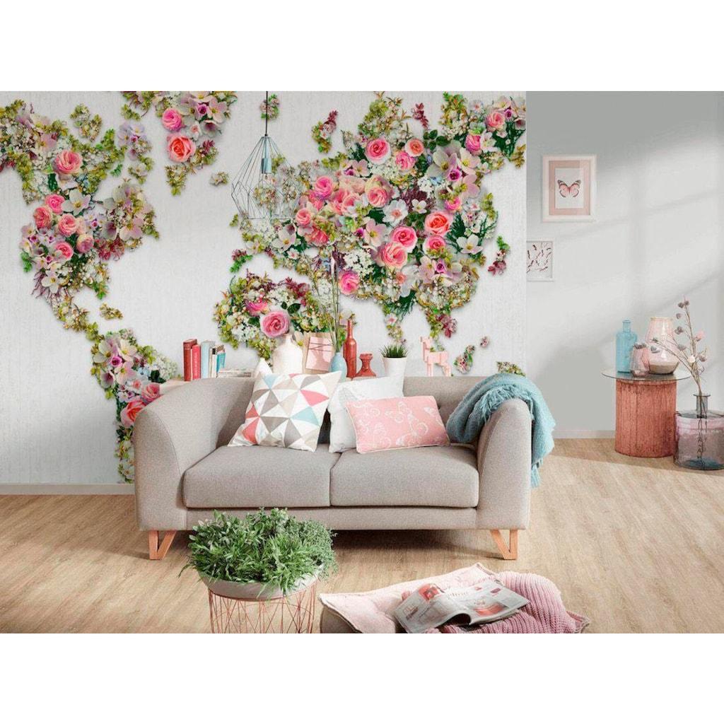 living walls Vliestapete »Weltkarte aus Rosen Vlies«, mit Grafik Muster