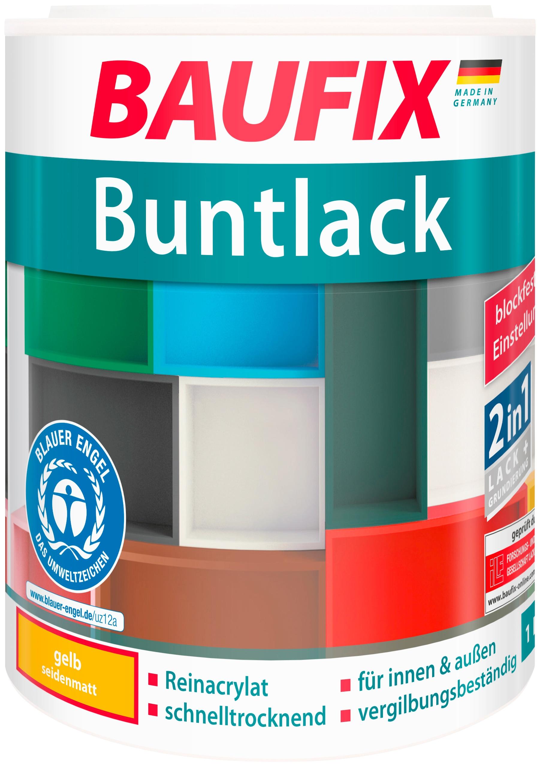 Baufix Acryl-Buntlack, 1 Liter, gelb Lacke Farben Bauen Renovieren Acryl-Buntlack