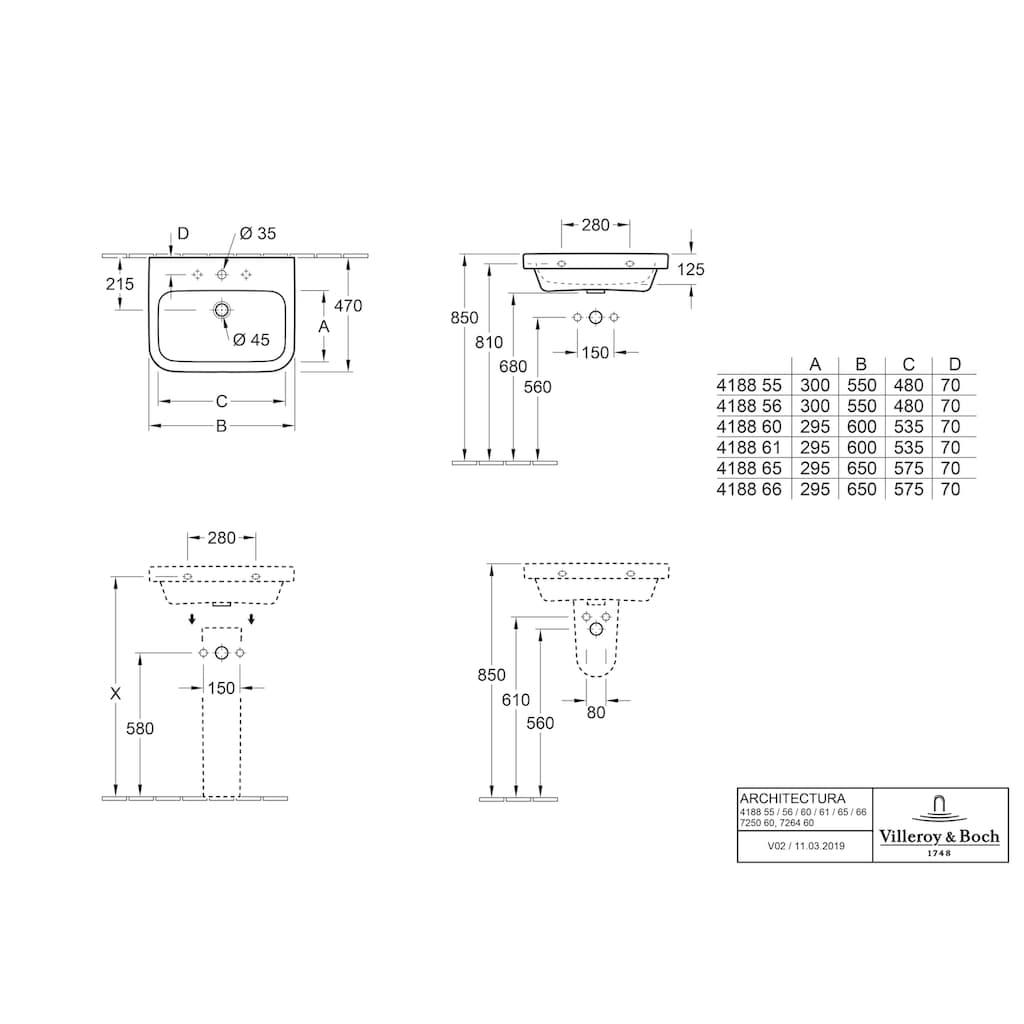 Villeroy & Boch Aufsatzwaschbecken »Architectura«, mit CeramicPlus Beschichtung und Überlauf