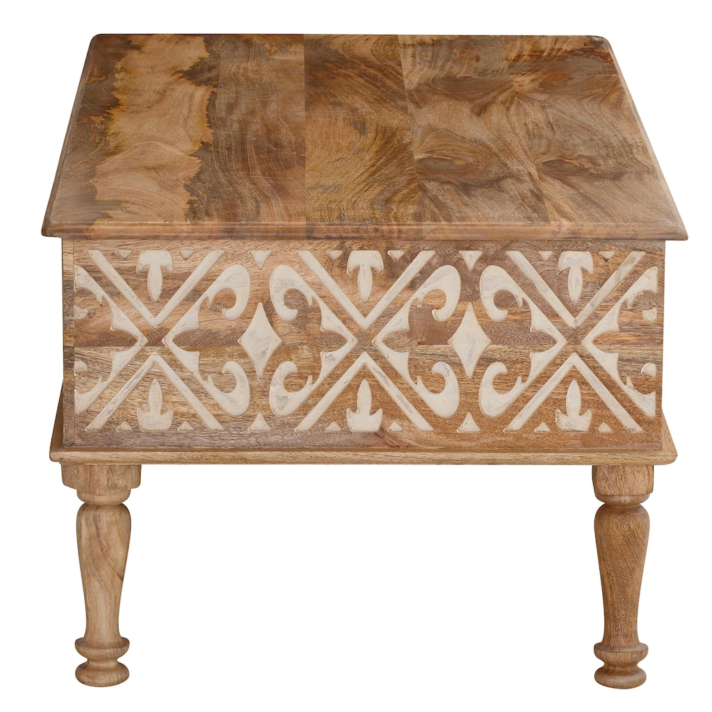 Home affaire Couchtisch »Spring«, aus massivem Mangoholz mit schönen detailreichen Ornamenten, Breite