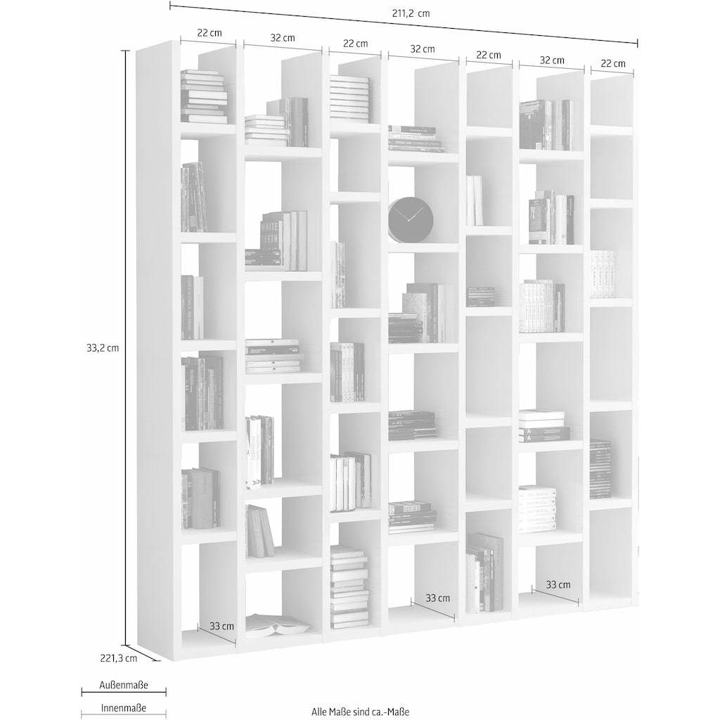 Raumteilerregal »TOR165«, Breite 211 cm