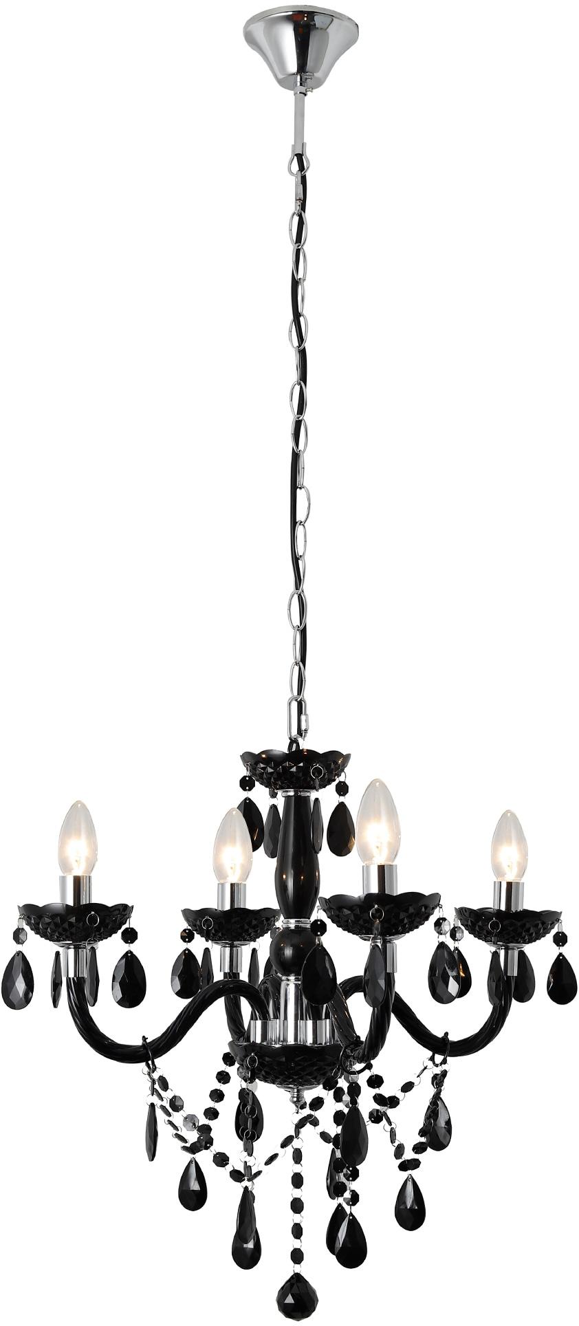 SalesFever Kronleuchter Matteo, E14, 4 Flammen aus schwarzem Acryl-Glas