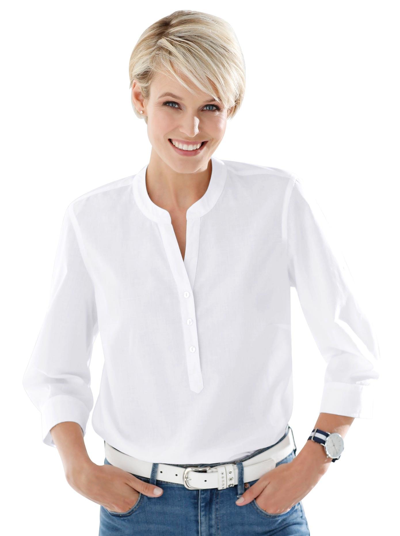 Classic Basics Bluse mit kurzer Knopfleiste