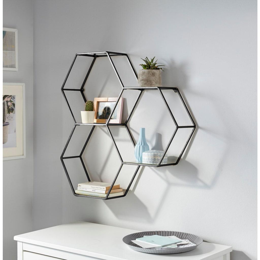 Leonique Wandregal »Lenia«, Dekoregal, Wanddekoration, bestehend aus drei sechseckigen Elementen, in modernem Design