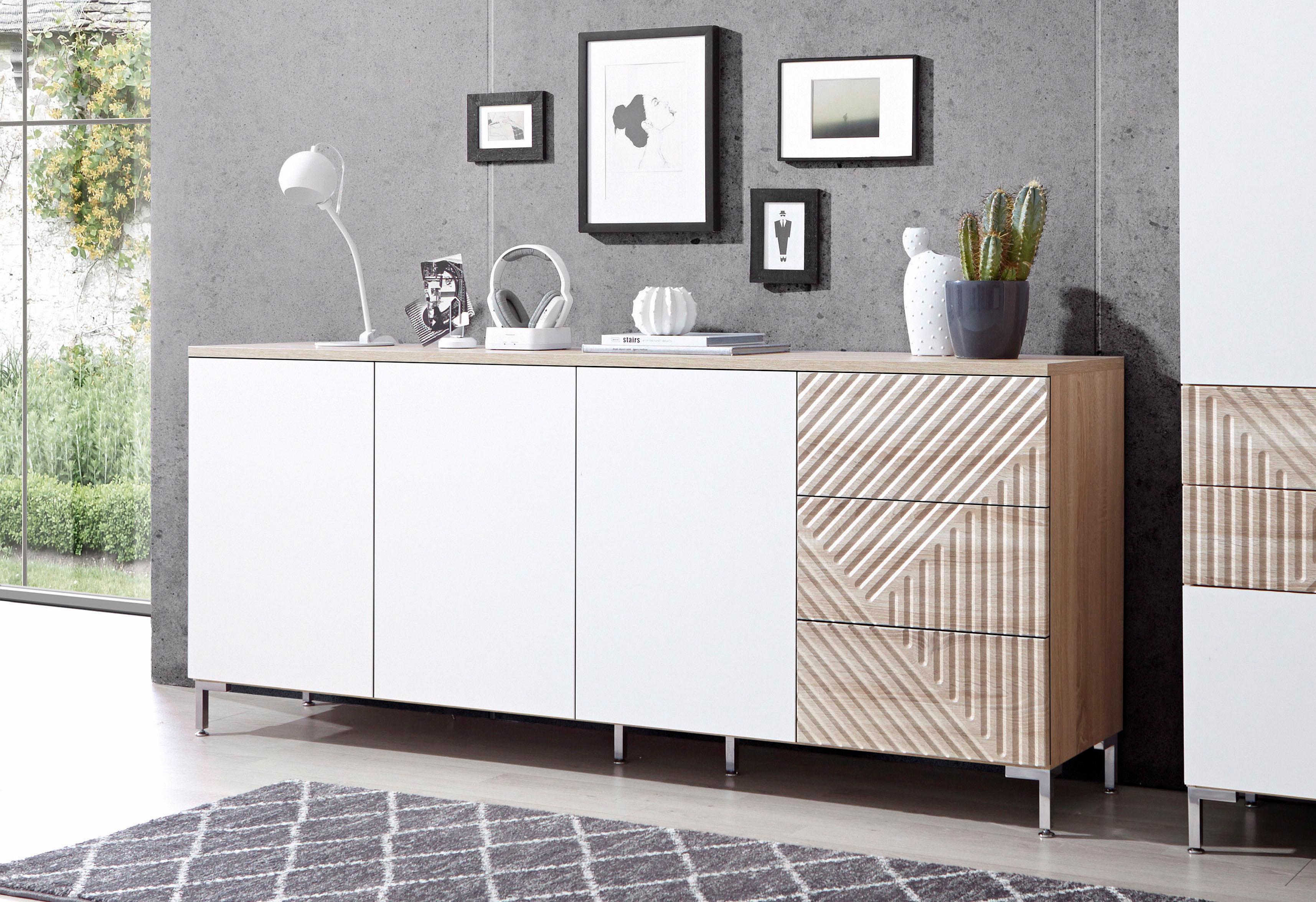 INOSIGN Sideboard Greta mit schönen Fräsungen auf den Schubladenfronten Breite 195 cm