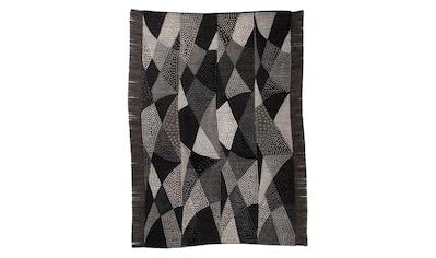 DIE HAUSKUNST Teppich »Chiya Tiama 1«, rechteckig, 4 mm Höhe, Flachgewebe, handgewebt, mit Fransen, Wohnzimmer kaufen
