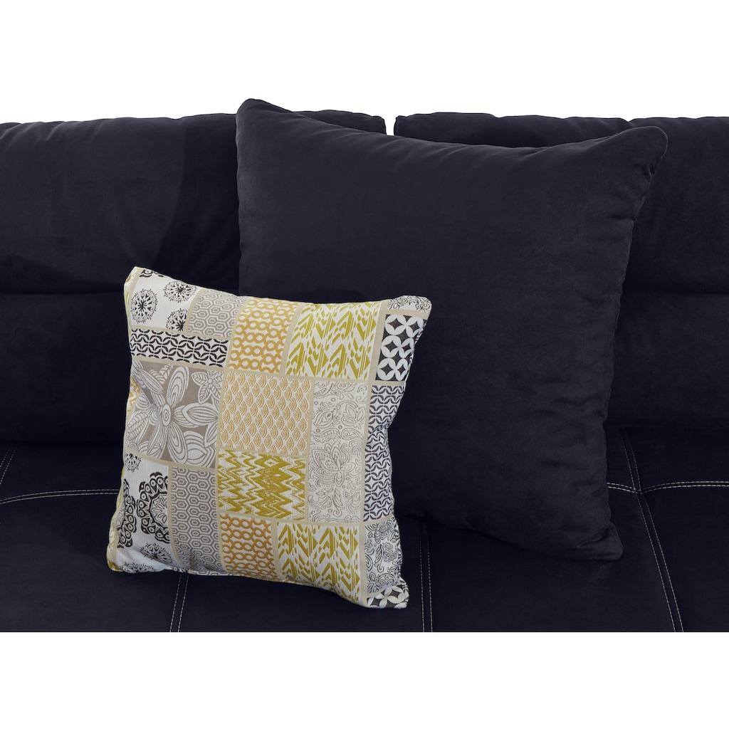 Places of Style Ecksofa, mit eingearbeiteter Kaltschaummatte und attraktiver Steppung, inklusive Kissen, Recamiere links oder rechts montierbar, frei im Raum stellbar