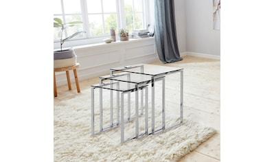 andas Beistelltisch »Karina«, (Set), mit einer Glastischplatte aus klarem Glas und Chromgestell kaufen