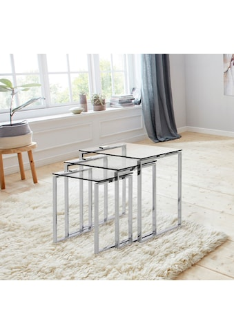 andas Beistelltisch »Karina«, (Set), mit einer Glastischplatte aus klarem Glas und... kaufen
