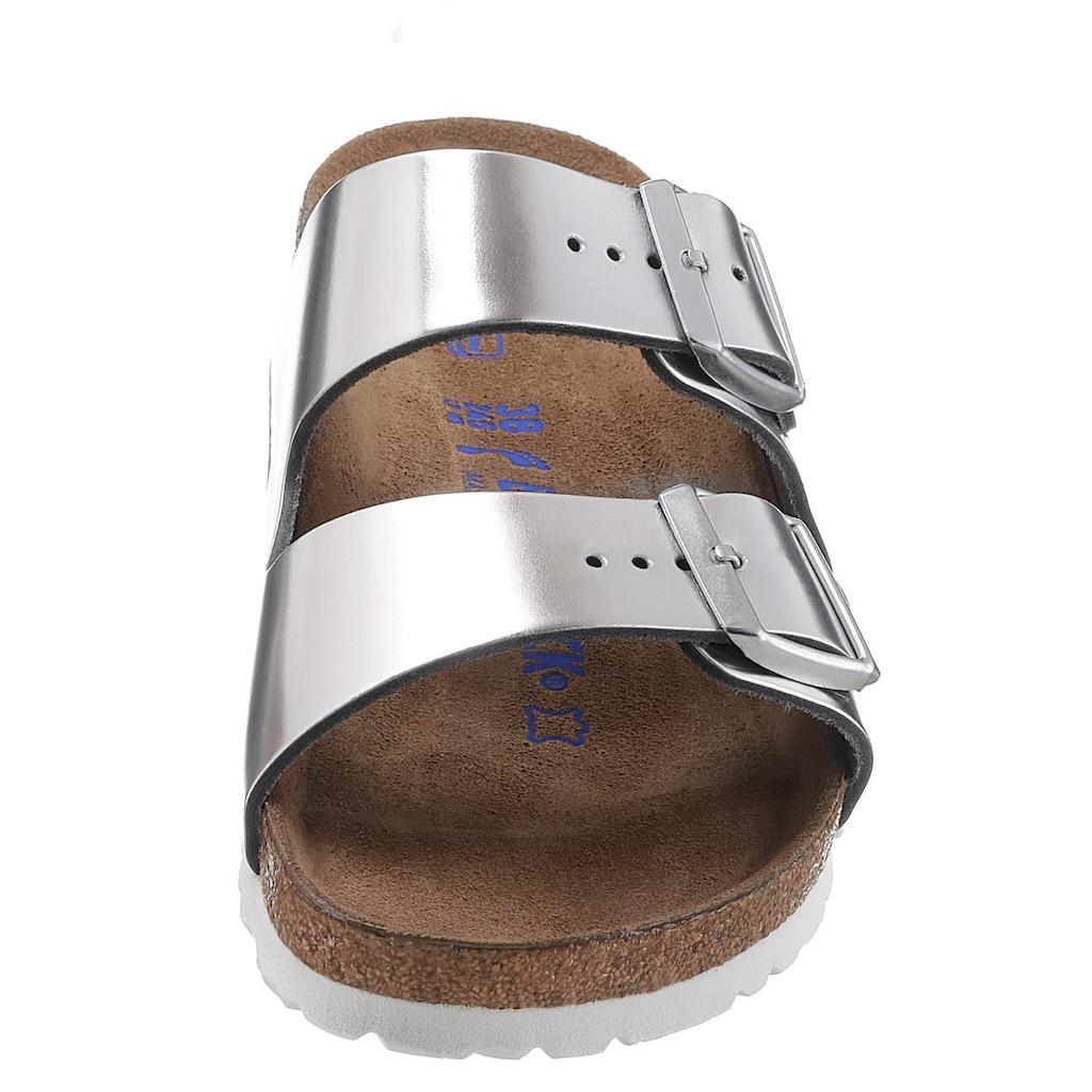 Birkenstock Pantolette »ARIZONA SFB«, in schmaler Schuhweite, Metallic-Optik, mit Soft-Fußbett