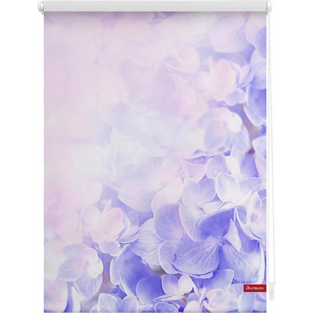 LICHTBLICK ORIGINAL Seitenzugrollo »Klemmfix Motiv Hortensie«, Lichtschutz, ohne Bohren, freihängend, bedruckt