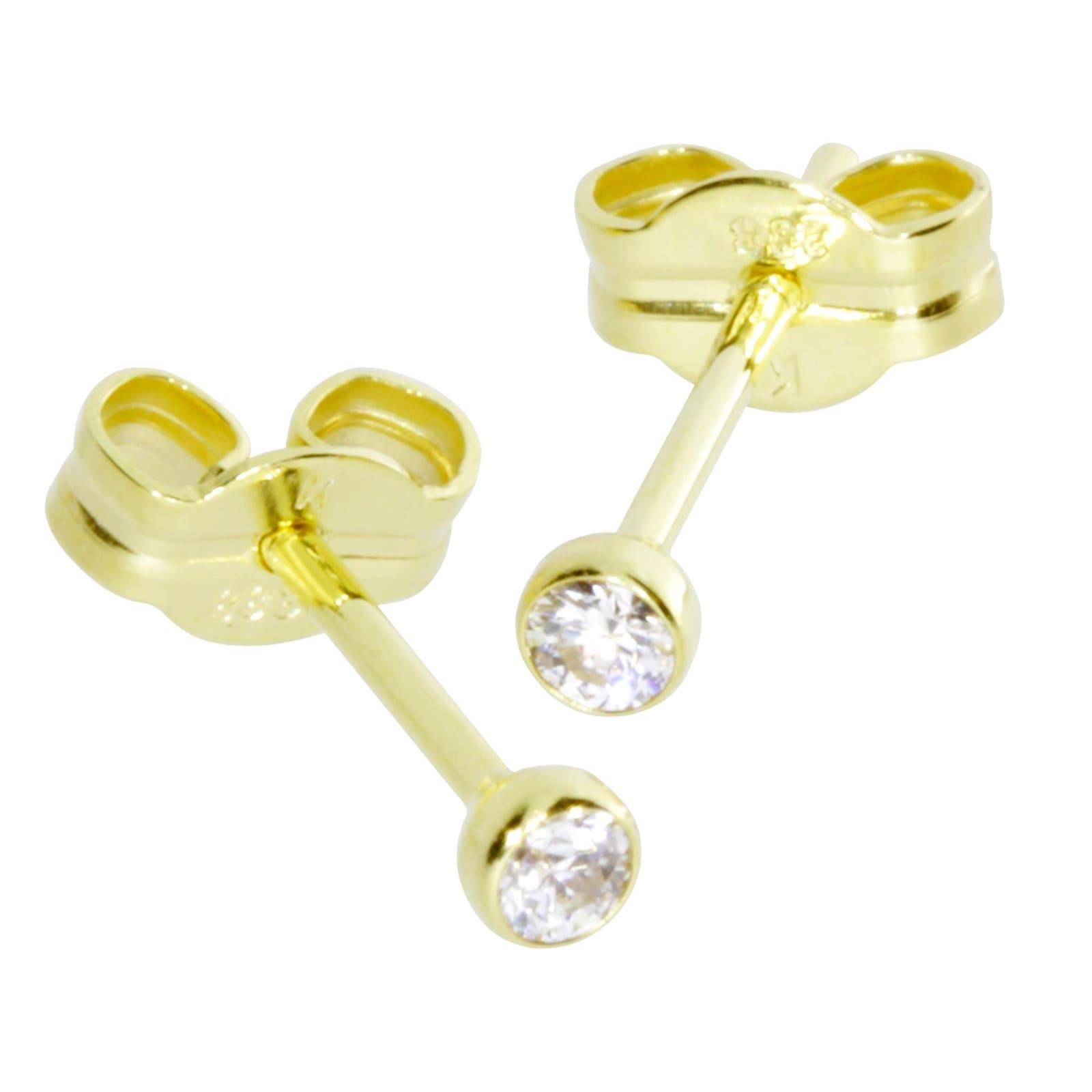 OSTSEE-SCHMUCK Paar Ohrstecker Anna 2 mm Gold 333/000 Zirkonia weiss | Schmuck > Ohrschmuck & Ohrringe > Ohrstecker | Ostsee-Schmuck