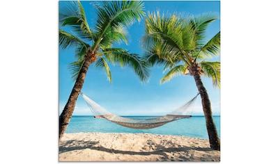 Artland Glasbild »Palmenstrand Karibik mit Hängematte« kaufen