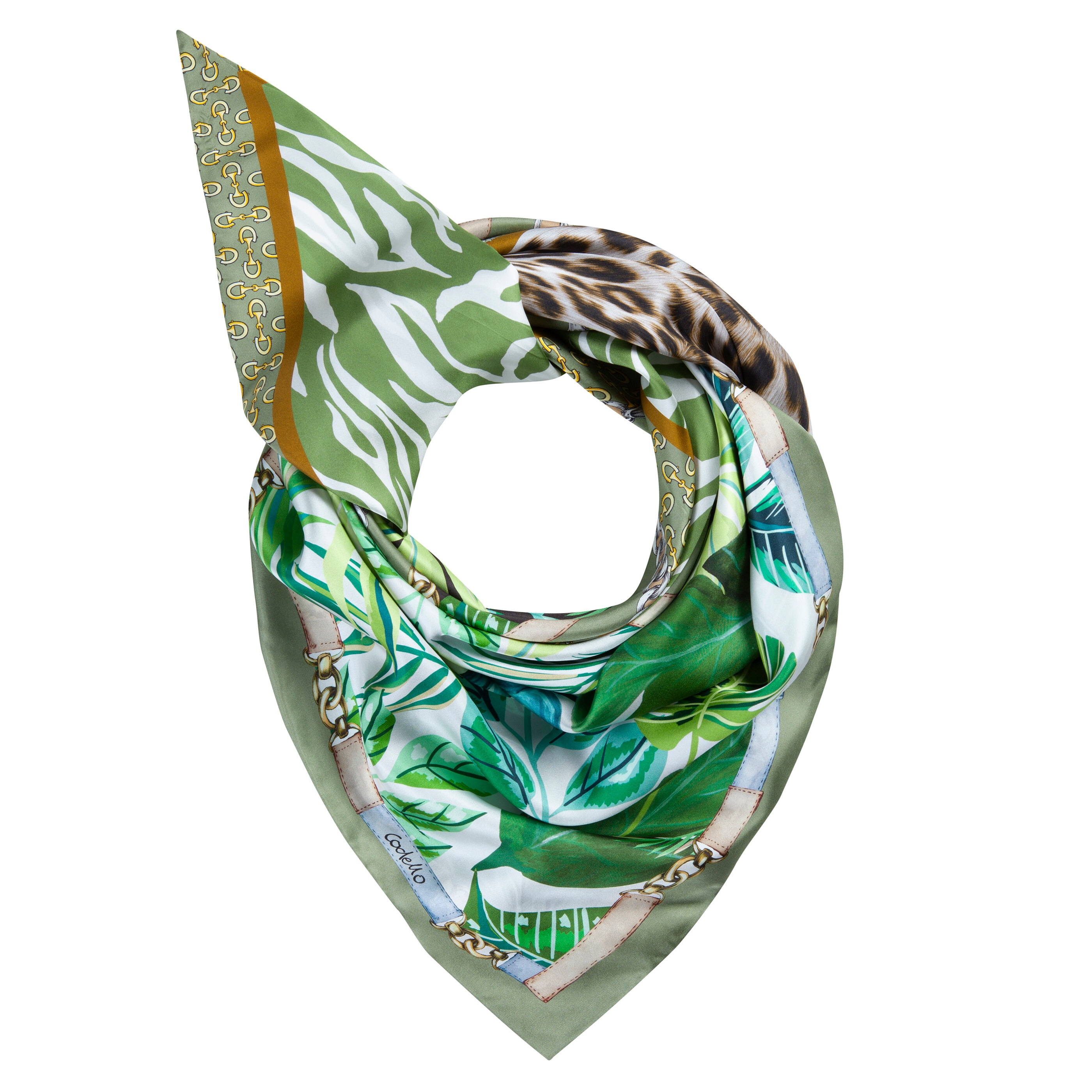 Codello Dreieckstuch, aus reiner Seide mit Logo-Print grün Damen Dreieckstuch