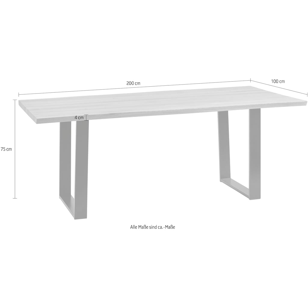 SCHÖSSWENDER Baumkantentisch »Oviedo 4«, FSC®-zertifiziertes Massivholztischplatte mit Baumkante