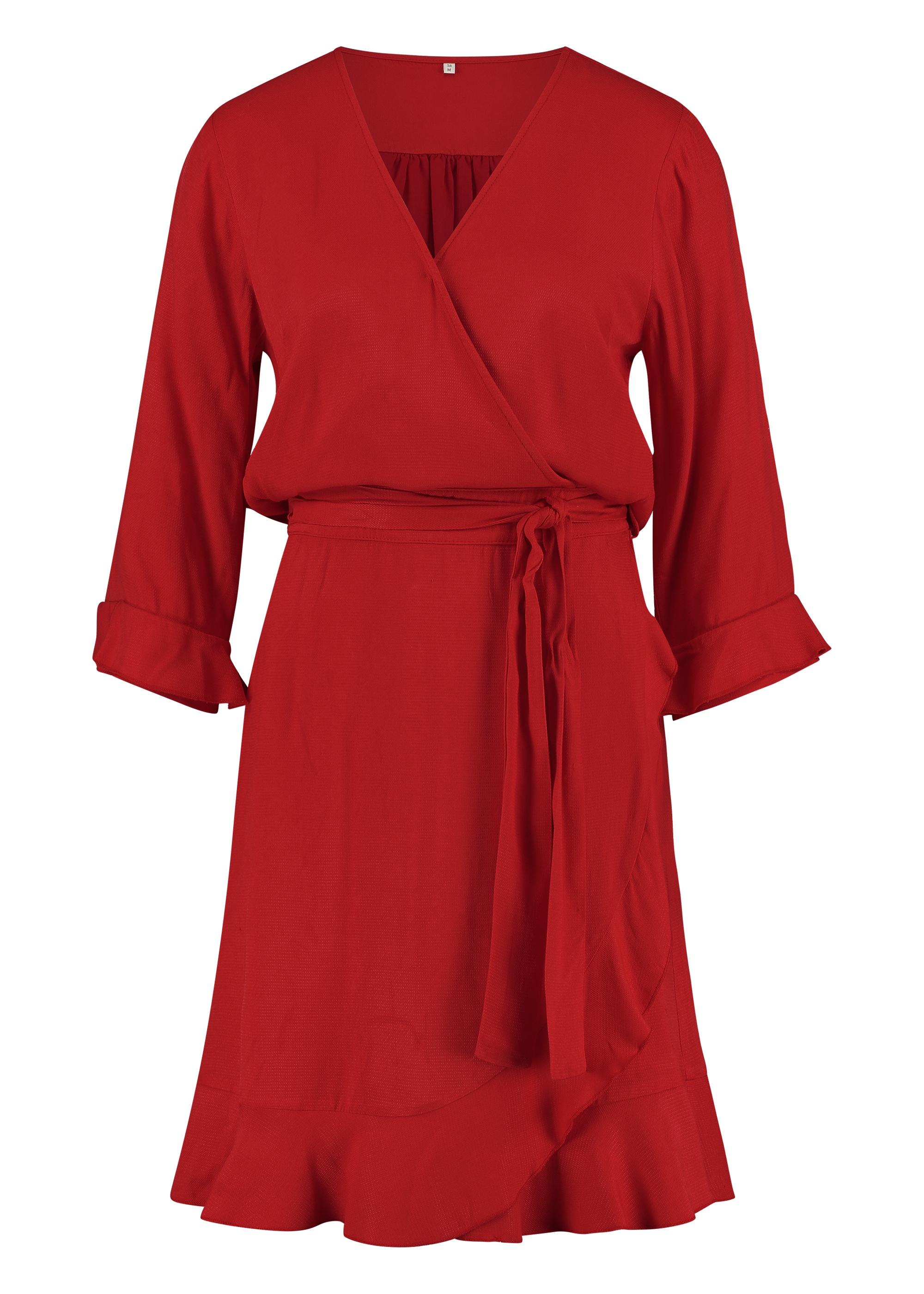 Loom&Lace Kleid mit Bindegürtel Desi rot Damen Knielange Kleider