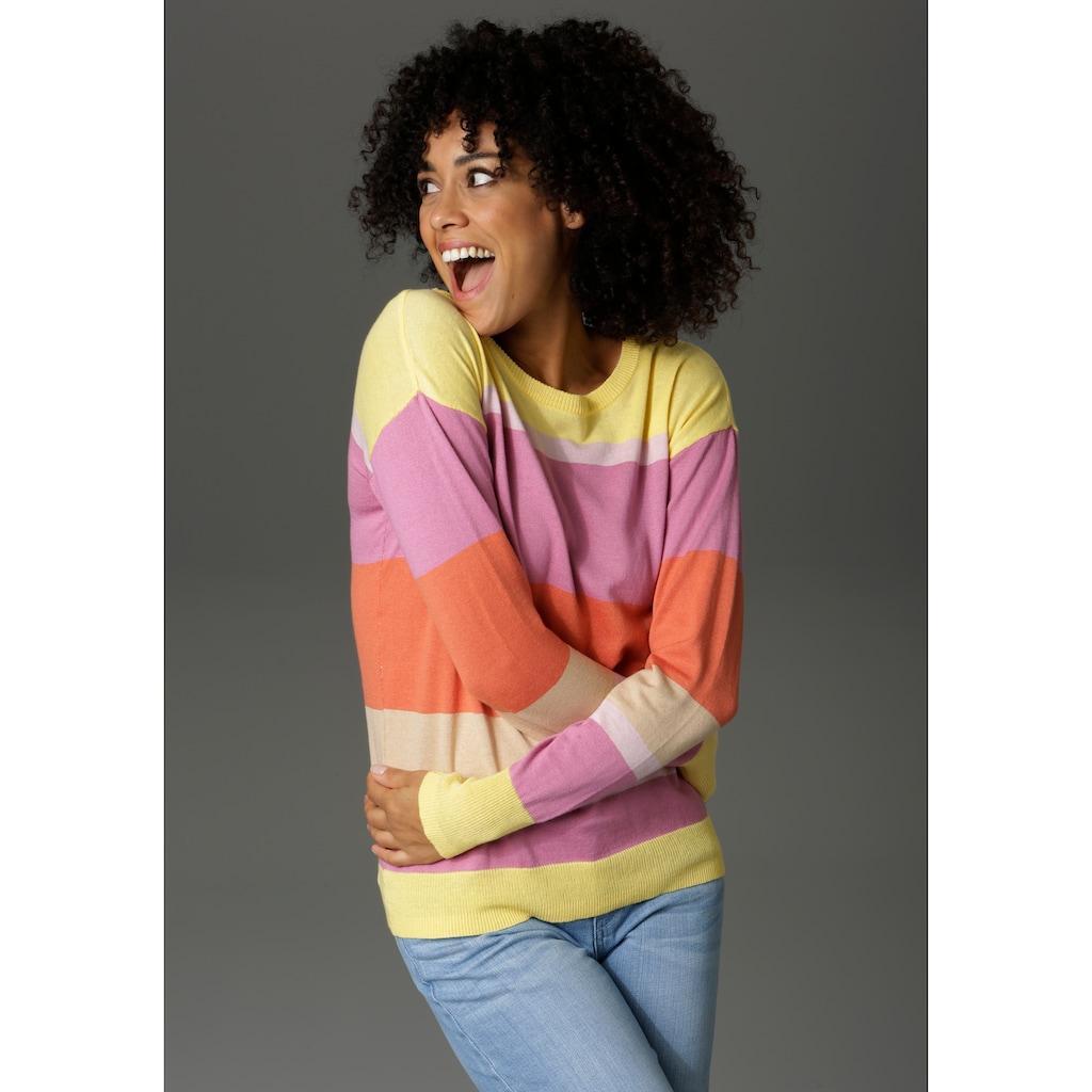 Aniston CASUAL Rundhalspullover, mit Colorblocking - NEUE KOLLEKTION