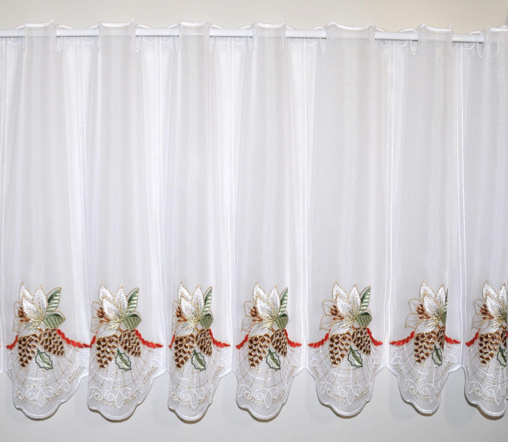 Scheibengardine Stickereien Plauen Christrose mit Stangendurchzug (1 Stück)