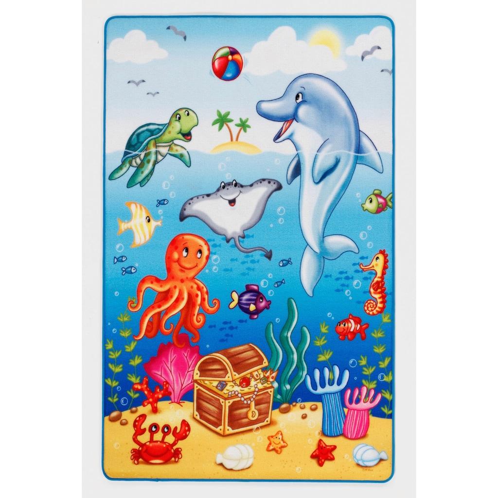 Böing Carpet Kinderteppich »Lovely Kids LK-7«, rechteckig, 2 mm Höhe, Motiv Ozean