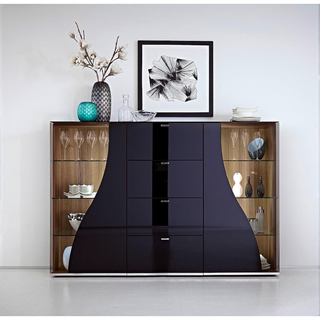 LEONARDO Highboard »CURVE«, Vitrine beidseitig, Innenfarbe Nussbaum, Breite 195 cm