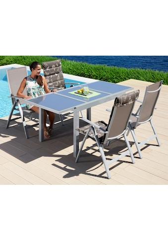 MERXX Gartenmöbelset »Amalfi«, (5 tlg.), 4 Klappsessel, Tisch 90x120-180 cm, Alu/Textil kaufen