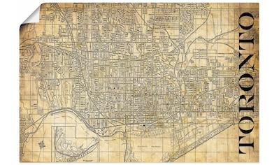 Artland Wandbild »Toronto Karte Straßen Karte Sepia« kaufen