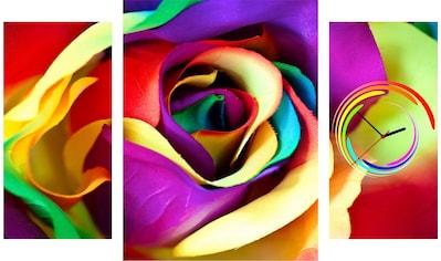 Conni Oberkircher´s Bild »Colour Rose«, Blumen, (Set), mit dekorativer Uhr kaufen