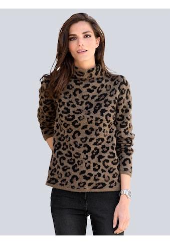 Alba Moda Pullover in modischem Leostrickdessin kaufen