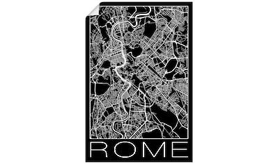 Artland Wandbild »Retro Karte Rom Italien Schwarz«, Italien, (1 St.), in vielen Größen & Produktarten - Alubild / Outdoorbild für den Außenbereich, Leinwandbild, Poster, Wandaufkleber / Wandtattoo auch für Badezimmer geeignet kaufen