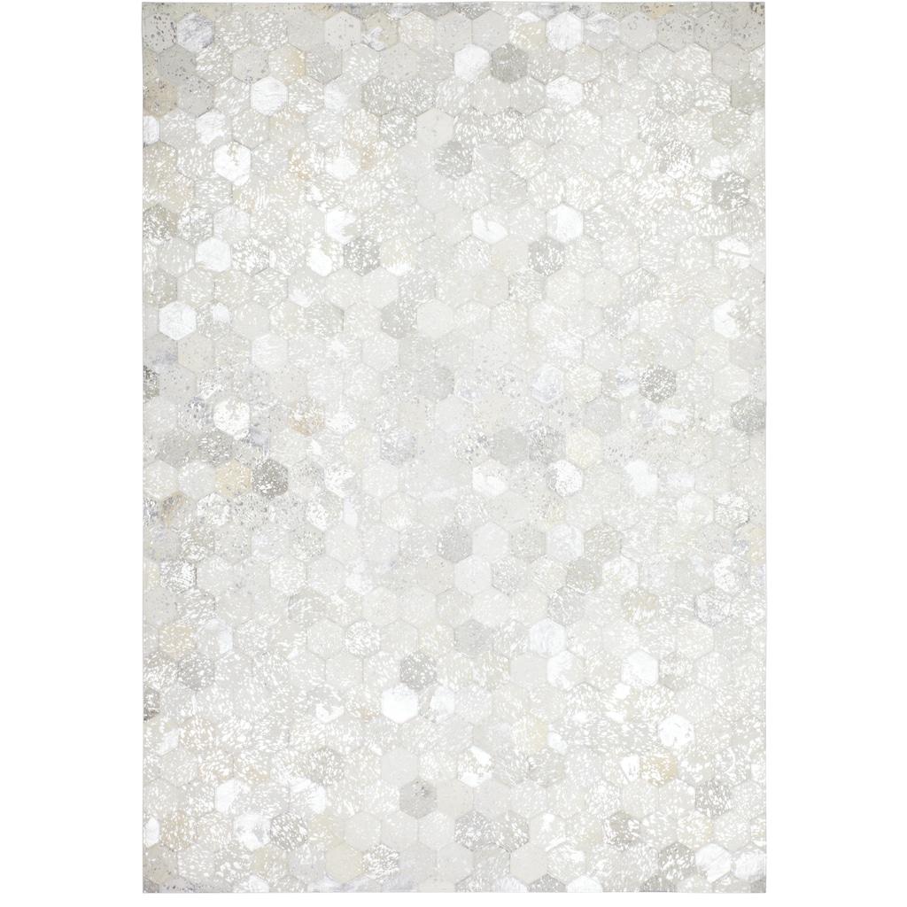 Kayoom Lederteppich »Spark 210«, rechteckig, 8 mm Höhe, Patchwork-echtes Leder-Fell, Wohnzimmer