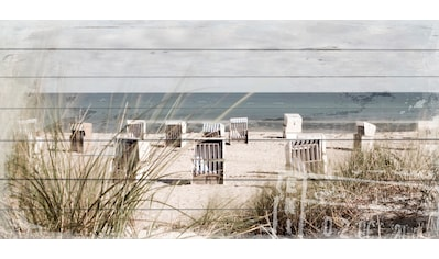 queence Holzbild »Strandkörbe-Strand«, 40x80 cm kaufen