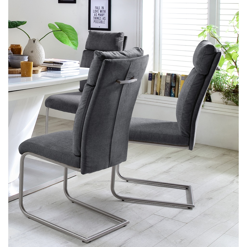 MCA furniture Freischwinger »PIA«, 2er-Set, Stuhl belastbar bis 120 kg, Kissenoptik