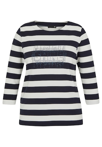 Thomas Rabe Rundhalsshirt, mit geringeltem Muster und Glitzersteinen kaufen