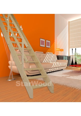 STARWOOD Raumspartreppe »Korfu«, offene Stufen, gerade, Holzgeländer links kaufen
