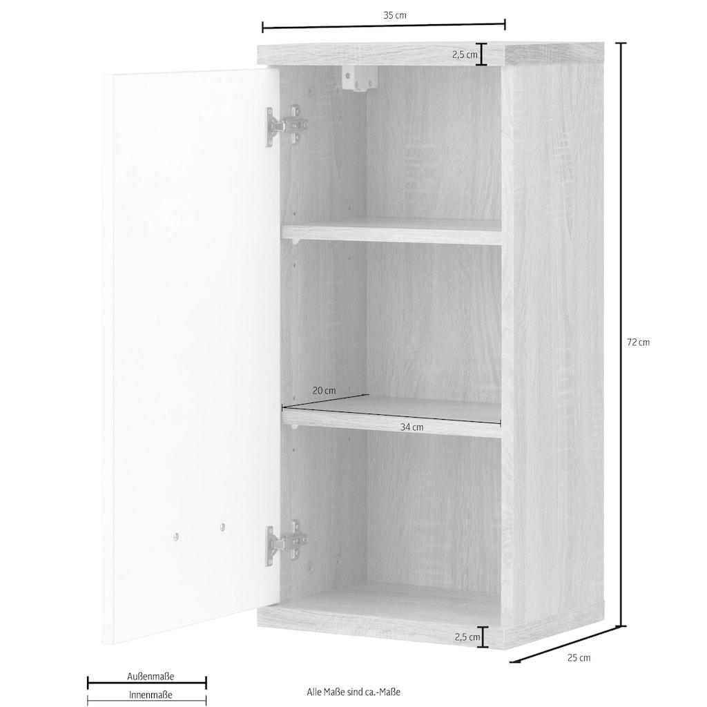 Homexperts Hängeschrank »Nusa«, Breite 35 cm, Badezimmerschrank mit Metallgriff, welchselbarer Türanschlag, MDF-Front in Hochglanz-Optik