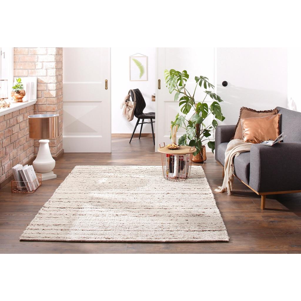 Theko Exklusiv Wollteppich »Allgäu Super«, rechteckig, 10 mm Höhe, reine Wolle, handgewebt, Wohnzimmer