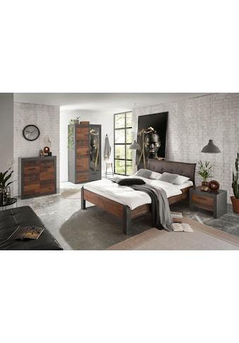 Home affaire Schlafzimmer-Set »BROOKLYN«, (Set, Einzelbett mit Polsterkopfteil, Nachtkommode, Kleiderschrank 2 trg., Kommode), in dekorativer Rahmenoptik kaufen