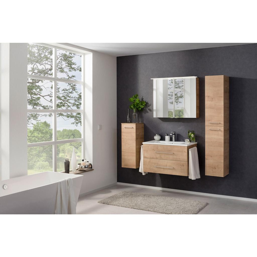 FACKELMANN Spiegelschrank »PE 80 - Ast-Eiche«, Breite 80 cm, 2 Türen, LED-Badspiegelschrank, doppelseitig verspiegelt